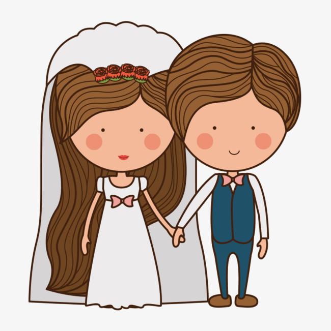 手绘新郎新娘