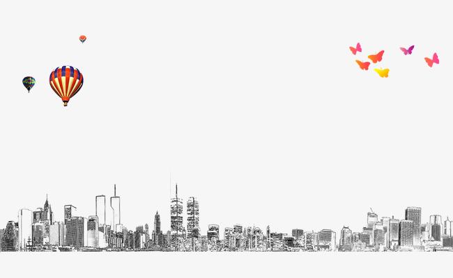 城市建筑物手绘线描黑白简笔画