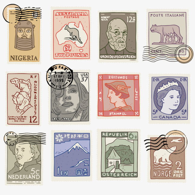 邮票 手绘 创意 设计             此素材是90设计网官方设计出品,均
