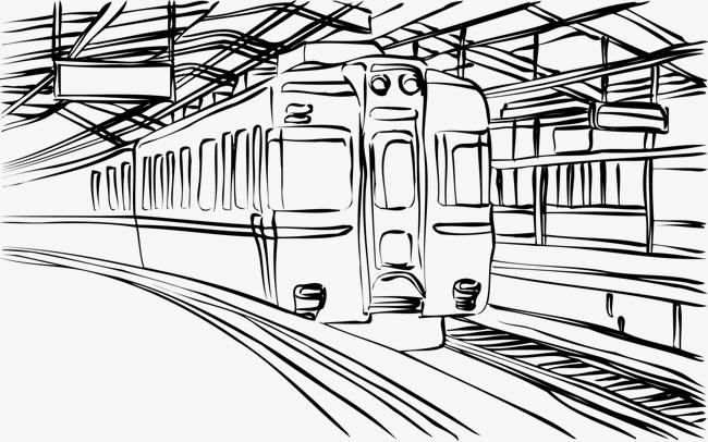 手绘线条绘画地铁到站