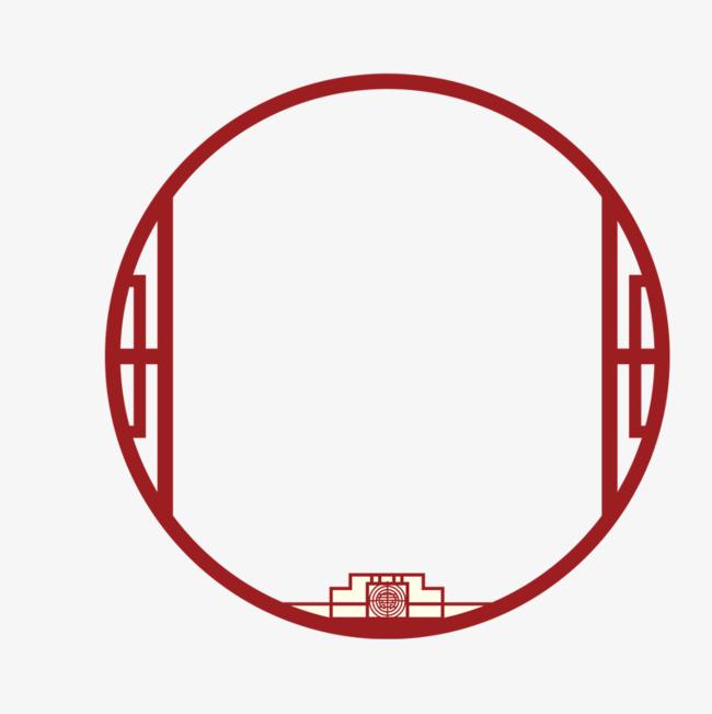 红色圆形中国风边框