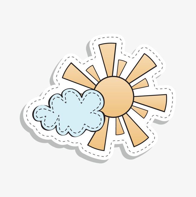 手绘卡通太阳白云