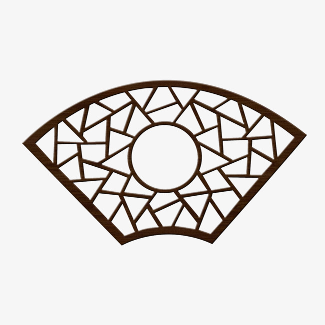 扇形边框_扇形镂空木雕png素材-90设计