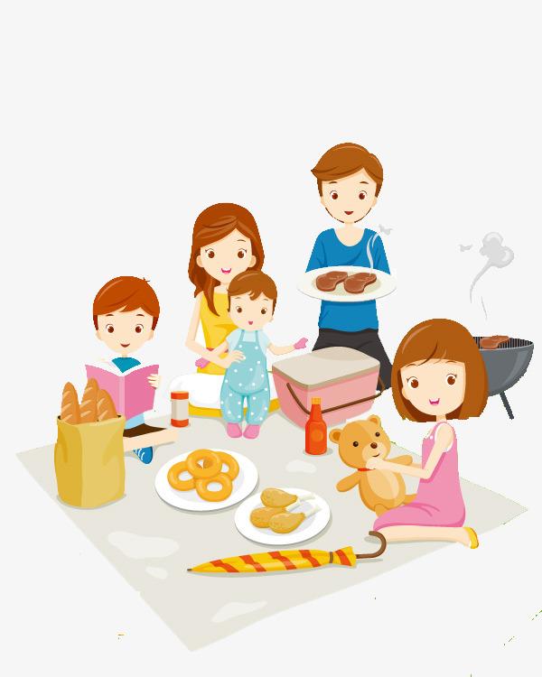 幸福一家人团圆卡通手绘