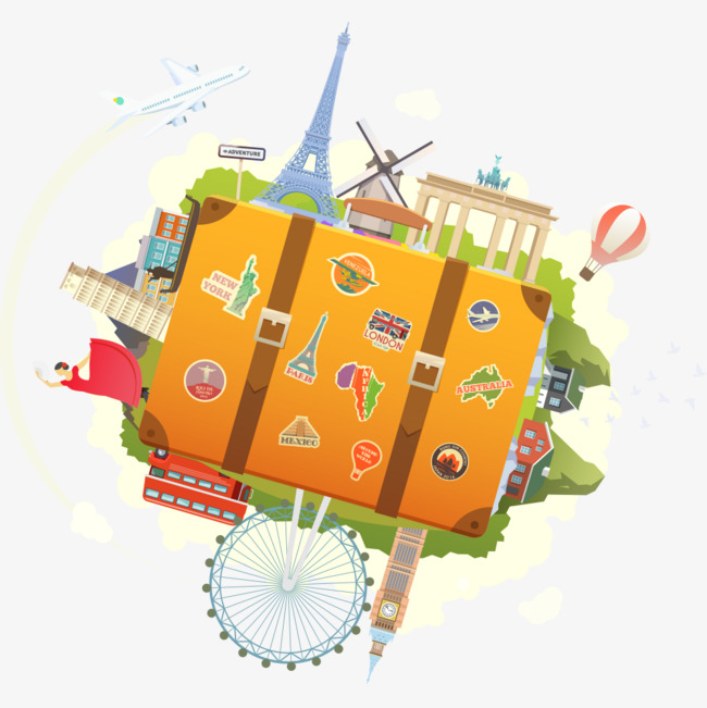 创意 手绘 行李箱 简单             此素材是90设计网官方设计出品