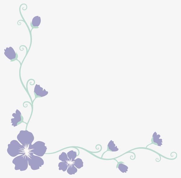 紫色小花边角装饰边框