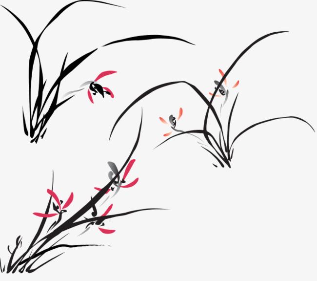 墨水画植物图片