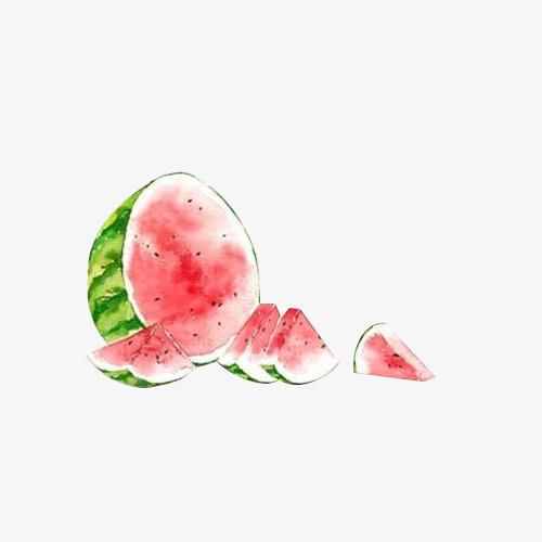 手绘水彩绘画水果西瓜