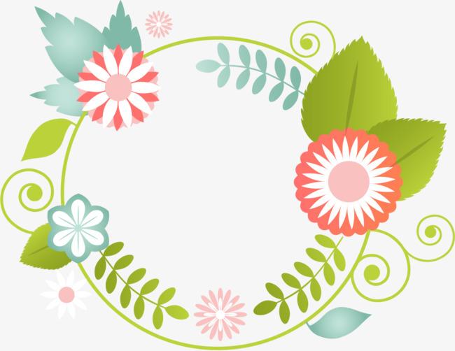 卡通花卉圆形装饰图案png素材-90设计图片