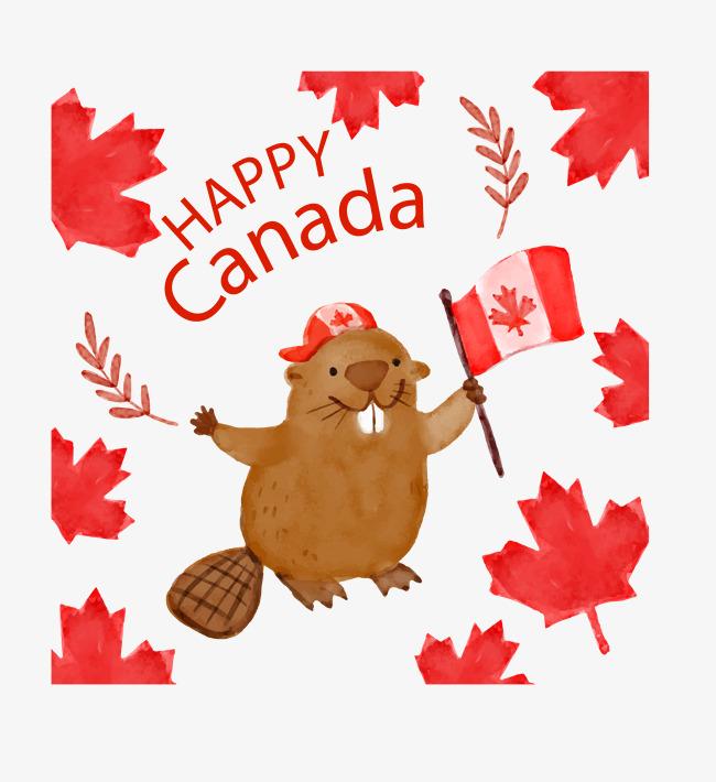 手绘土拨鼠加拿大国旗