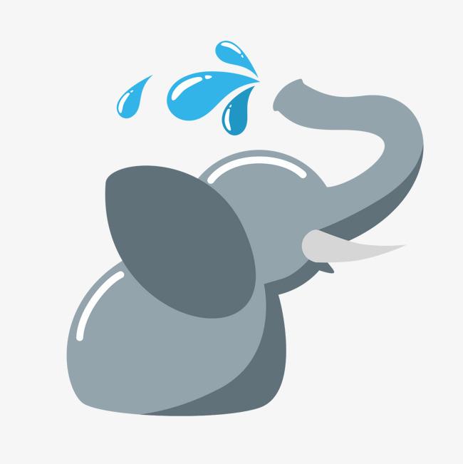 卡通动物大象喷水图片
