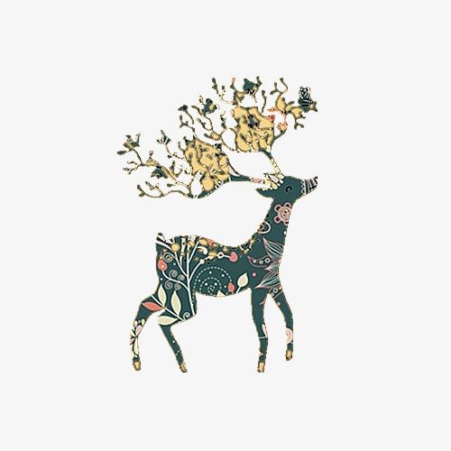 手繪花紋麋鹿