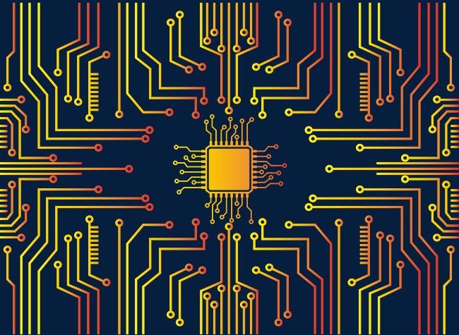 矢量金色渐变芯片电路板纹路素材图片免费下载