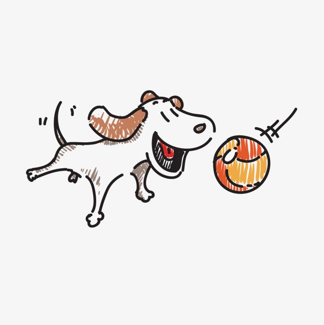 手绘狗 狗狗 小狗 玩球的狗图片