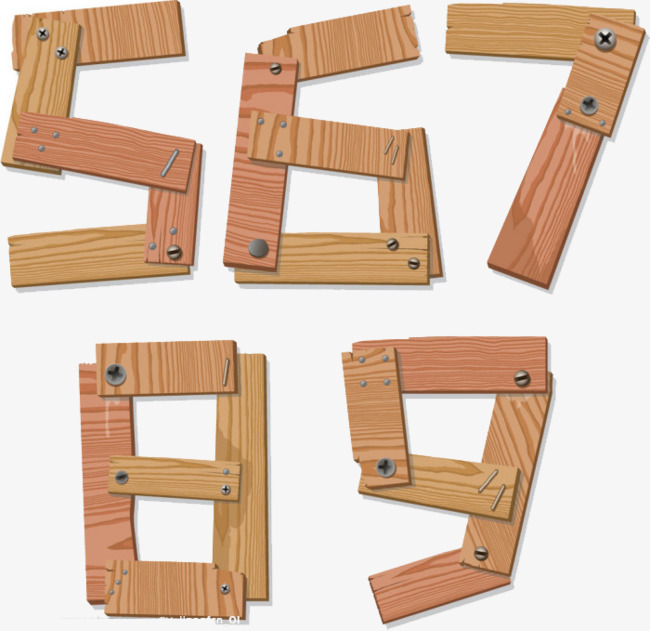 数字拼凑木板艺术字名片设计不写职务图片