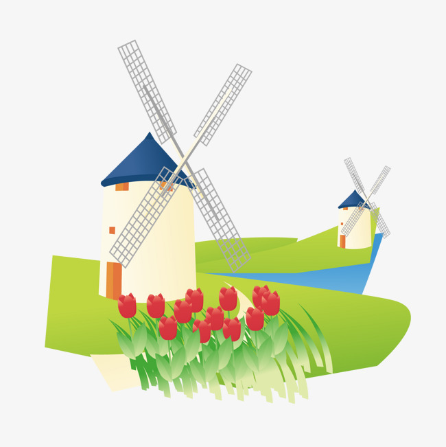 荷兰风车风景图案
