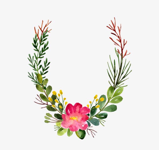 手绘的花草手绘花朵绿草png素材