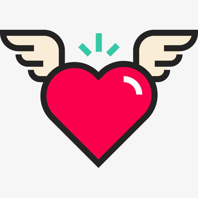 手绘带翅膀的心