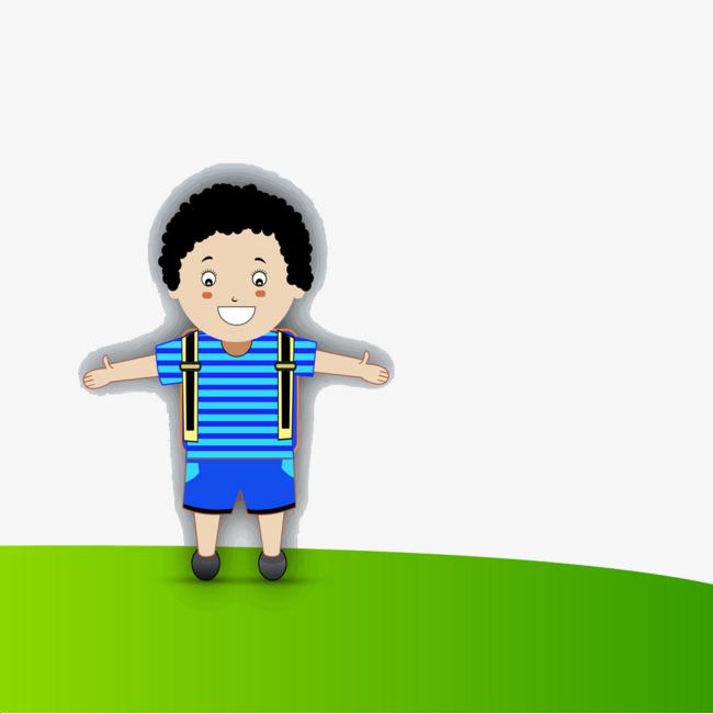 背着书包上学的男孩