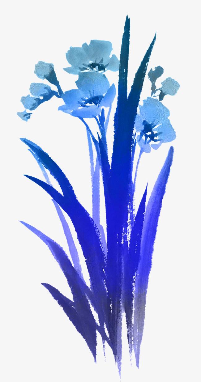 蓝色 植物 手绘 png素材             此素材是90设计网官方设计出品
