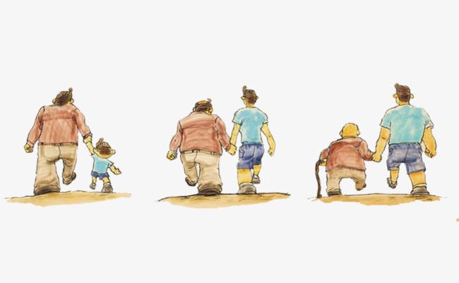卡通父子背影