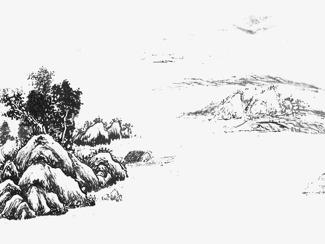 手绘水墨画石头树木