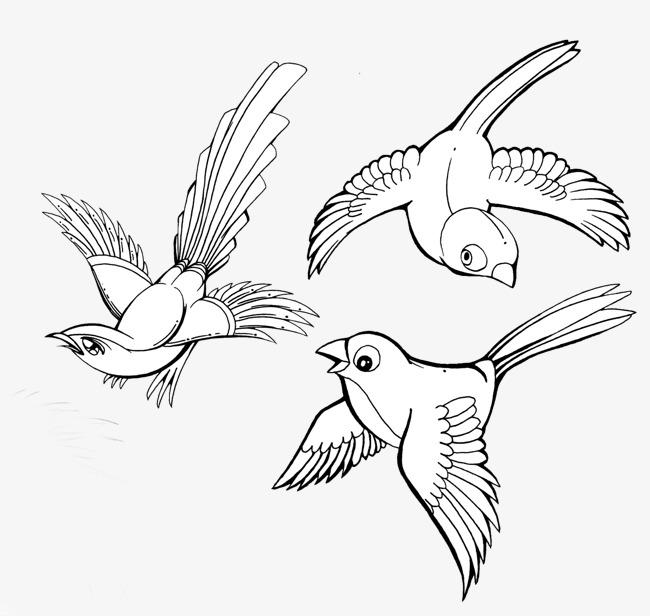 卡通手绘飞翔的小鸟