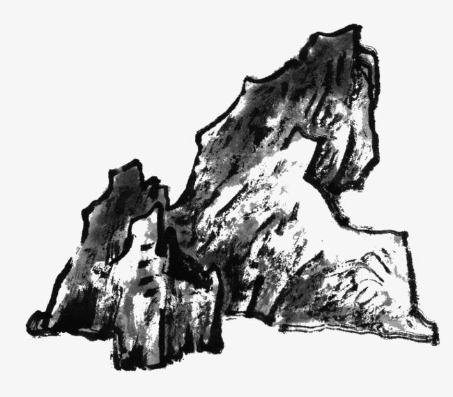 手绘水墨画石头
