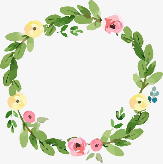 水粉花卉绿叶圆形装饰花环