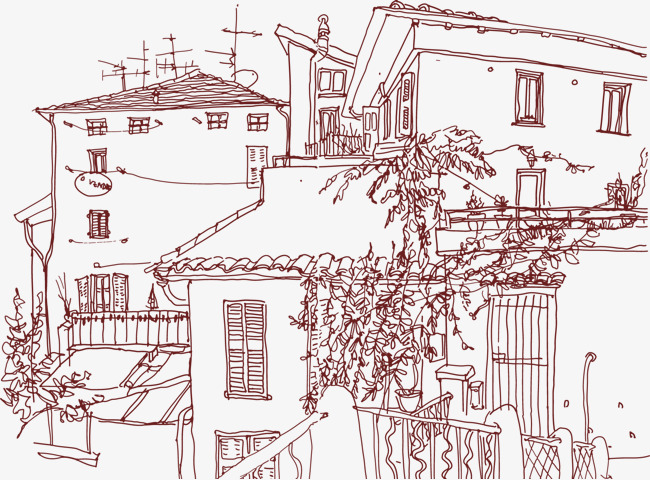 手绘线条建筑物房屋