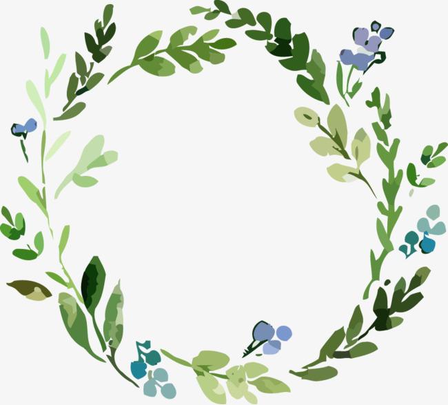 手绘水彩绘画花卉绿叶装饰花环