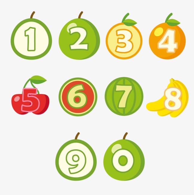 水果创意阿利伯数字艺术字