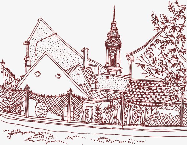 手绘线条建筑物房屋树木