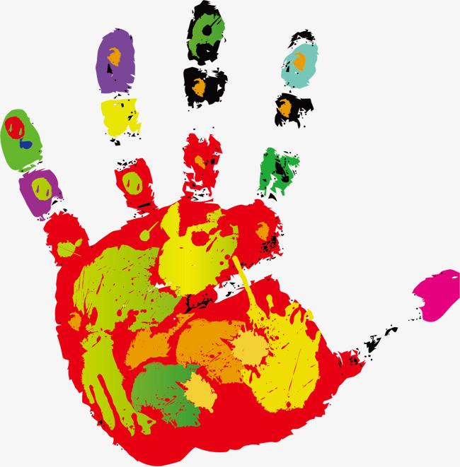 水彩 油画 手印 装饰图案图片