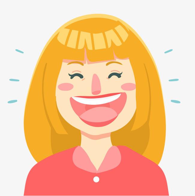 哈哈大笑 装饰 女性 微笑             此素材是90设计网官方设计