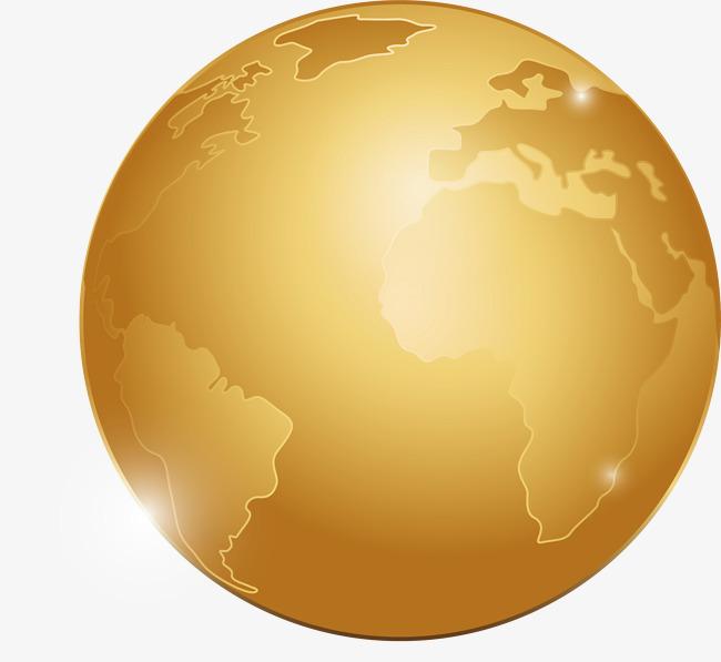 矢量手绘金色地球素材图片免费下载_高清psd_千库网