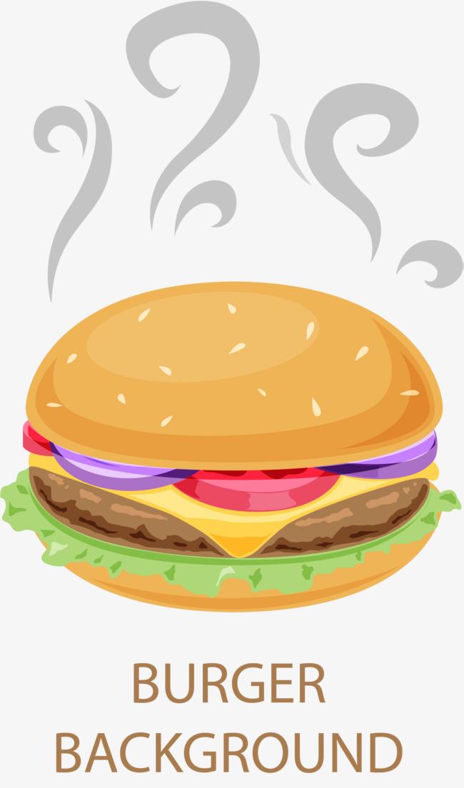 矢量手绘冒热气的汉堡