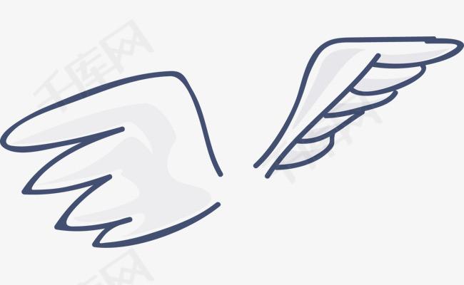 矢量手绘线条翅膀卡通翅膀展翅飞翔飞翔的翅膀矢量翅膀翅膀素材翅膀简笔画翱翔高空飞翔鸟类张开翅膀