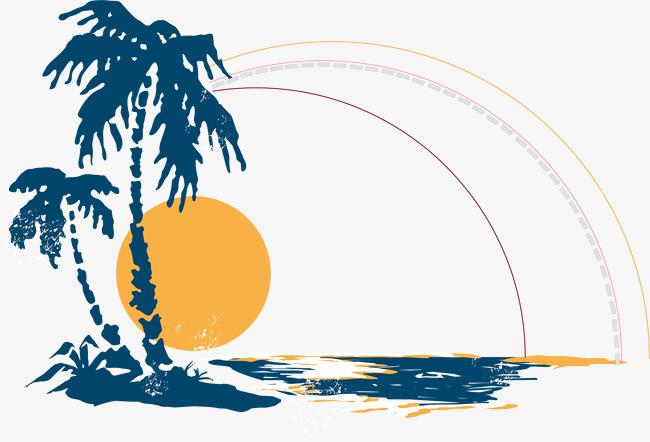 手绘海边日出