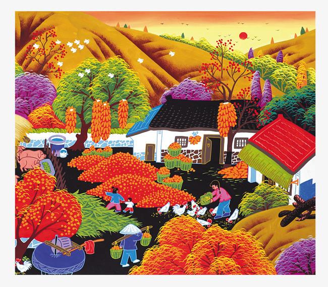 手绘乡村农家大丰收艺术画