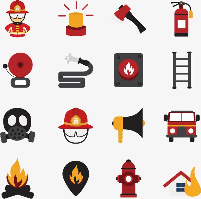 消防卡通图标矢量素材消防火警消防器材灭火器-消防卡通图标矢量素