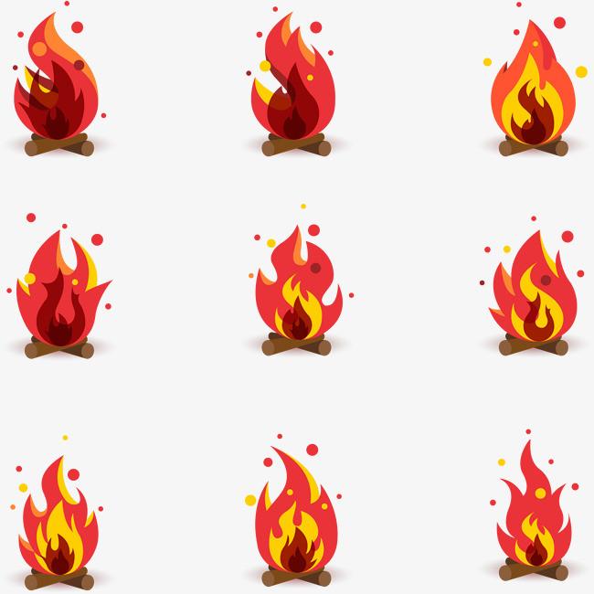 矢量手绘卡通火焰