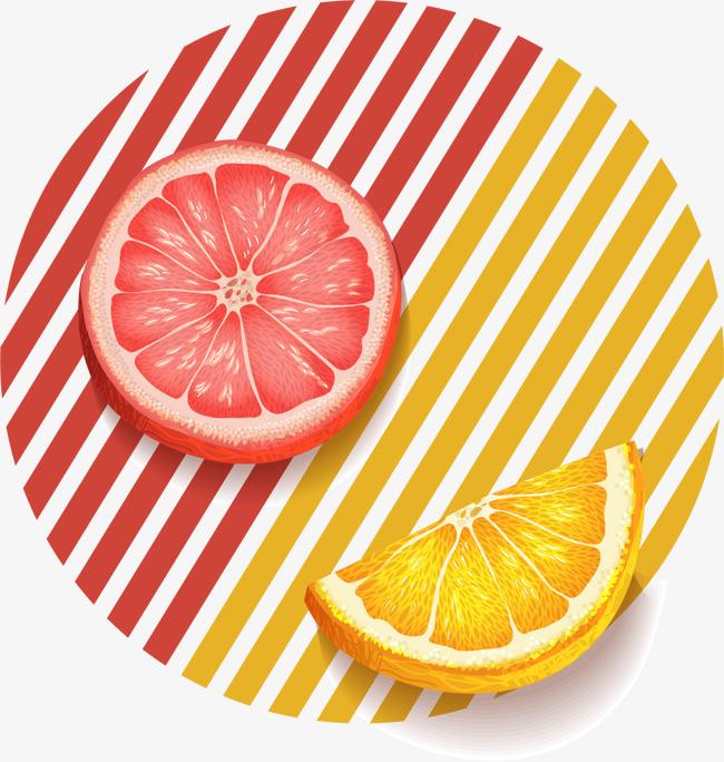 手绘彩色竖条 橙子 图案
