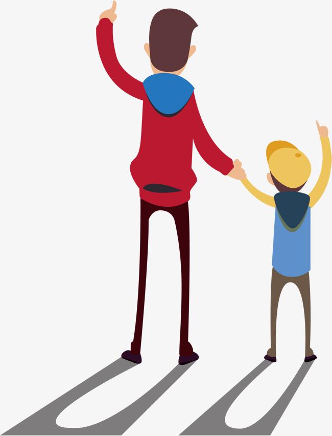 父子背影矢量图父子手绘背影创意矢量图