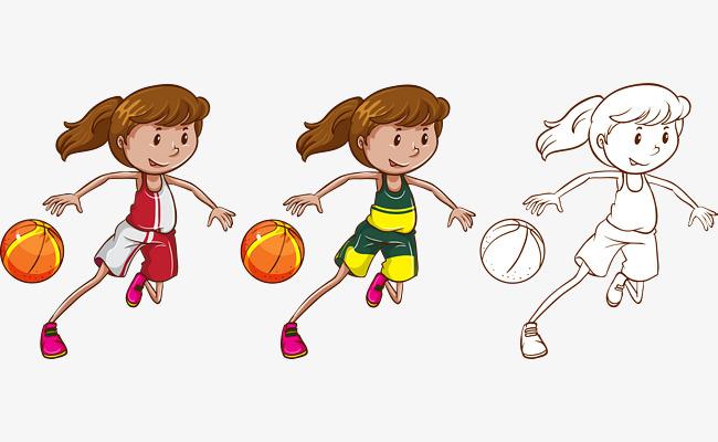 矢量手绘打篮球的女孩