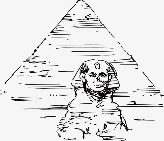 手绘古埃及金字塔狮身人面像线稿