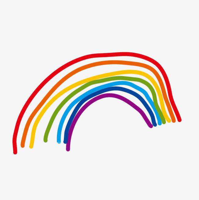 手绘卡通_手绘彩虹png素材-90设计