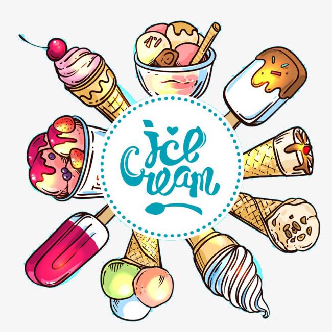 手绘夏日冰淇淋
