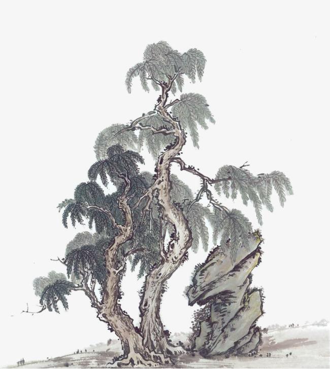 国画松树png素材