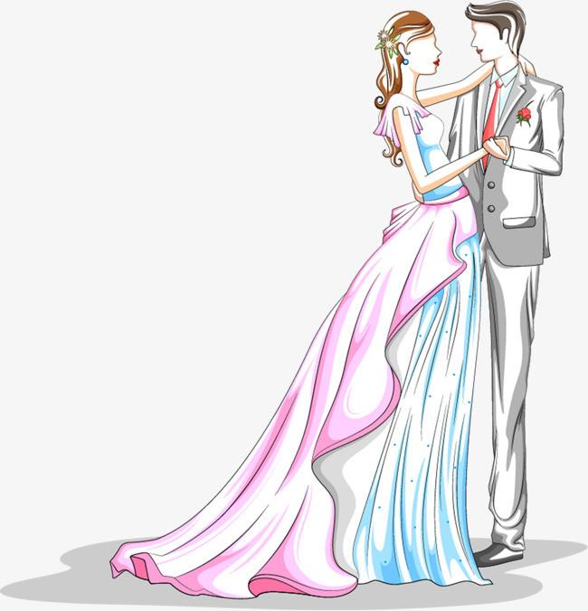 七夕情人节新郎新娘手绘